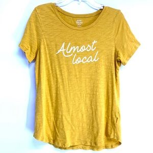 """Almost Local"" Old Navy Yellow Graphic Tee medium"